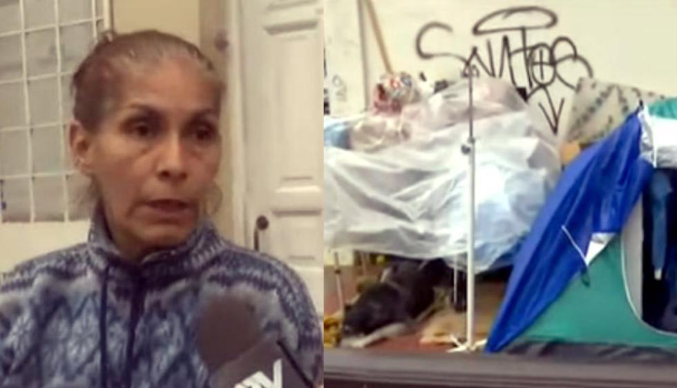 Anciana, su hijo con tuberculosis y su perro viven en la calle tras ser desalojados de habitación. Foto: Composición con capturas de ATV Noticias