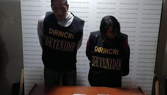 La parejita fue detenida con dos ladrillos de clorhidrato de cocaína frente a centro comercial, en El Agustino.