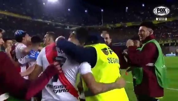 La imagen que se hizo viral tras la clasificación de River Plate a la final de la Copa Libertadores. (Captura: Fox Sports)
