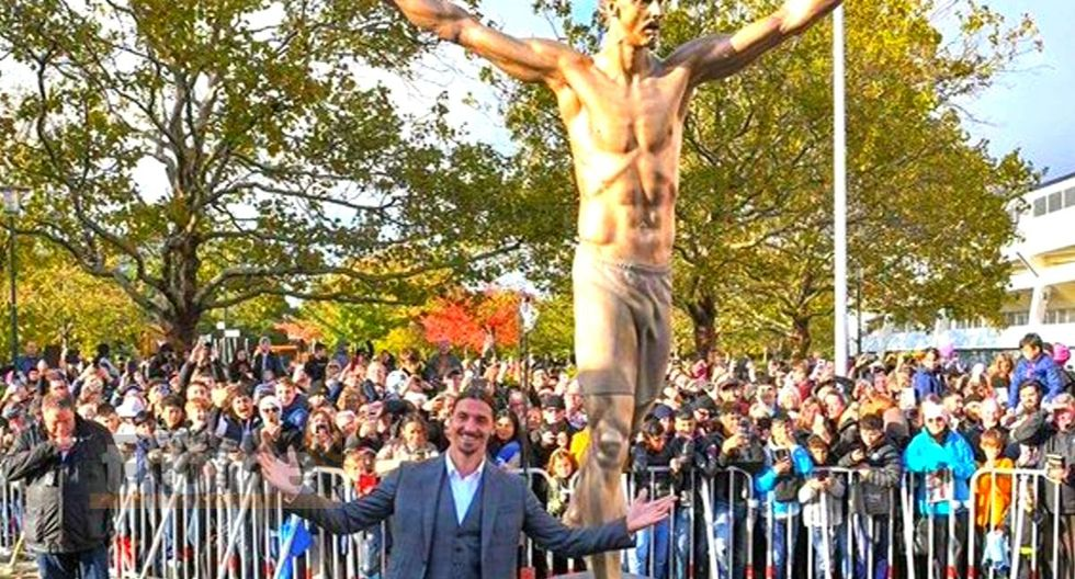 Zlatan Ibrahimovic desveló estatua que hicieron los hinchas de Malmo
