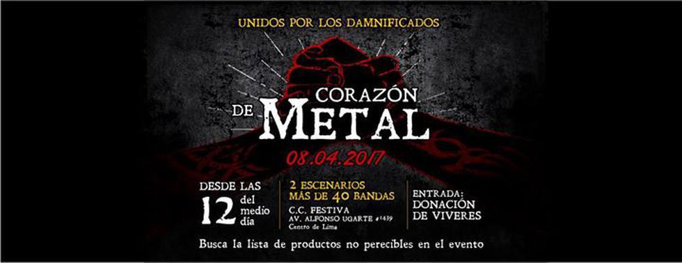 """Bajo el nombre de """"Festival Corazón de Metal"""", metaleros peruanos organizan concierto mostrar todo su apoyo a los damnificados por los huaicos y desbordes de ríos en el Perú."""