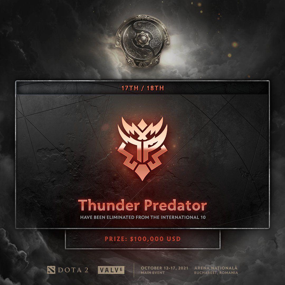 Anuncio de eliminación de Thunder Predator de The International 2021