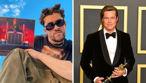 """Brad Pitt y Bad Bunny participarán en una cinta adaptada de una novela japonesa llamada """"Maria Beetle"""". (Foto: Instagram @badbunnypr / AFP Frederic J. Brown)"""