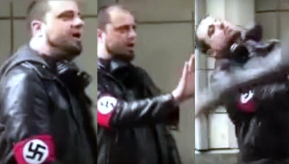 Nazi recibe su escarmiento tras agredir a un afroamericano.