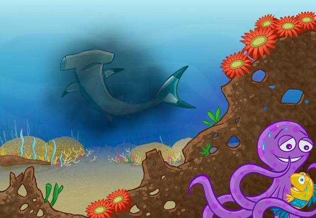 Tiburones asoman y ahí está uno de ellos.