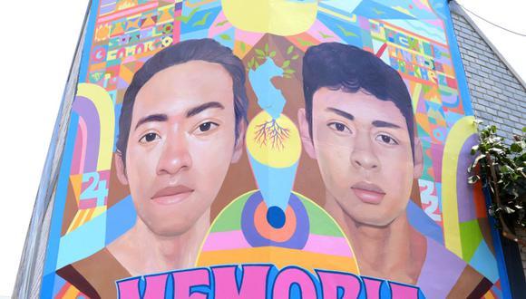 Un mural en homenaje a Inti Sotelo y Bryan Pintado fue pintado en los exteriores del coliseo Aldo Chamochumbi, en Magdalena. (Foto: Facebook de la Municipalidad de Magdalena)