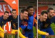 Lionel Messi: ¿Sus compañeros saben que se va de Barcelona? Hasta 11 jugadores lo buscaron para foto [VIDEO]