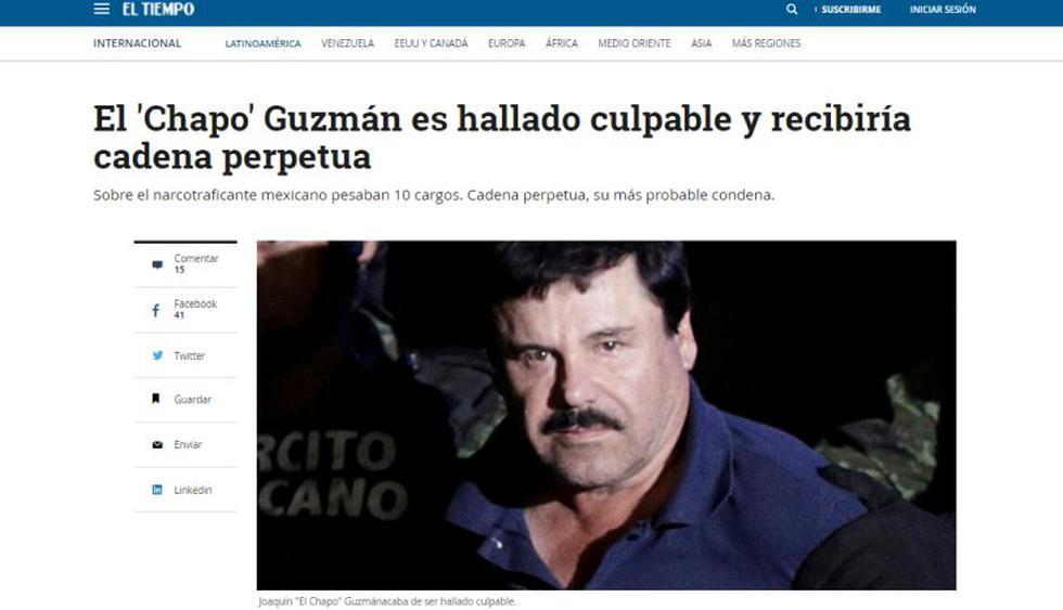 """Un jurado de Nueva York declaró culpable de todos los cargos a """"El Chapo"""" Guzmán. (Foto: El Tiempo)"""