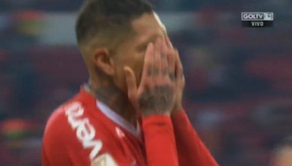 Paolo Guerrero lloró al ver el tercer gol de Atlético Paranaense en la final de la Copa de Brasil. (Captura: Gol Tv)