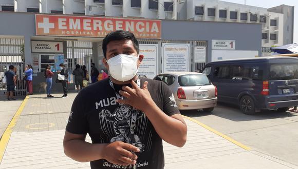 El padre de familia, Brusoni Salas Salas (37), fue herido de gravedad de un balazo en el cuello por un feroz delincuente, que solo le robó una bolsita con medicinas. Hermano del herido con el que hablaba por celular el trabajador.