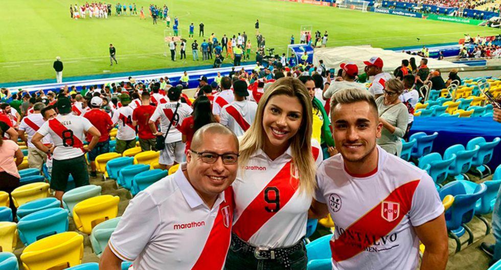 Alondra García estuvo en el Maracaná alentando a Paolo Guerrero y a la selección peruana (Foto: Daniel Quintanilla)