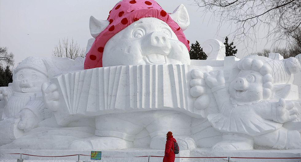 Un visitante pasa junto a una escultura de cerdo hecha de nieve y hielo que marca el próximo Año Nuevo Lunar del Cerdo en Harbin, en la provincia de Heilongjiang, noreste de China, el 4 de enero de 2019. (AFP)