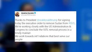 Gobierno sudanés agradece a Donald Trump que saque al país de lista terrorista