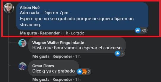 Usuarios expresaron su malestar porque el Miss Perú 2021 no comenzó a la hora anunciado por la organización. (Captura Facebook Miss Perú).