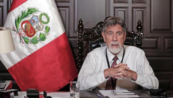 El presidente Francisco Sagasti se dirige a la nación en un mensaje televisado, el 26 de enero. (Foto: Presidencia Perú).