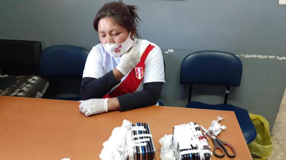 Arequipa. Elizabeth Champi pretendió ingresar 23 celulares ocultos en víveres. (Foto:INPE)