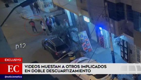 En las imágenes se observan a dos hombres y dos mujeres en el hostal Señor de Sipán donde se habría realizado el descuartizamiento de víctimas. (Foto: Captura América Noticias)