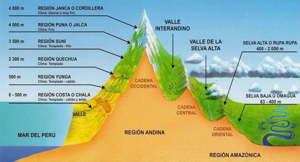 Las regiones naturales del Perú.