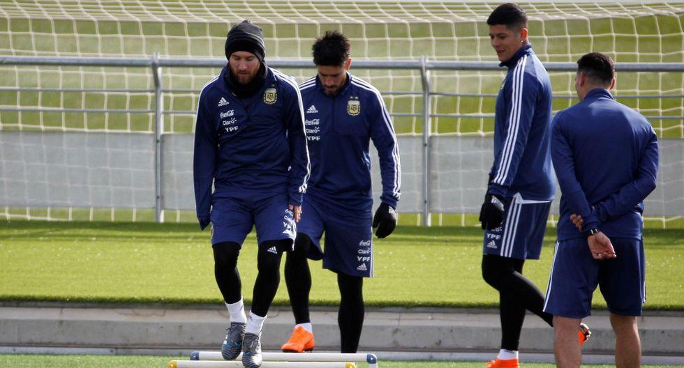 Lionel Messi en los entrenamientos de la selección argentina