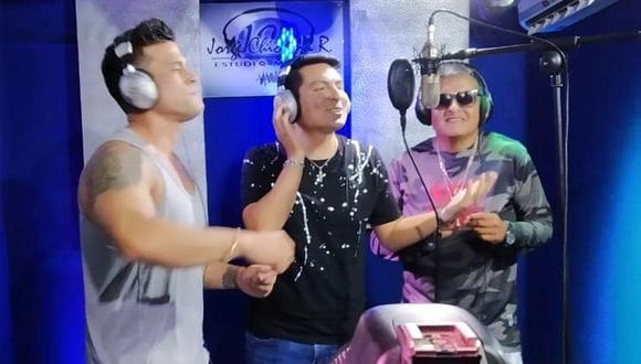 "Christian Domínguez se reúne con excompañeros de ""La Joven Sensación"" para grabar ""Tic tic tac"" en salsa. (Foto: @guillermocubasperu)"