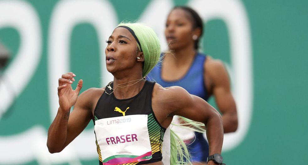 El estrafalario y colorido look de jamaiquina Fraser-Pryce al ganar oro con récord en 200 metros en Lima 2019