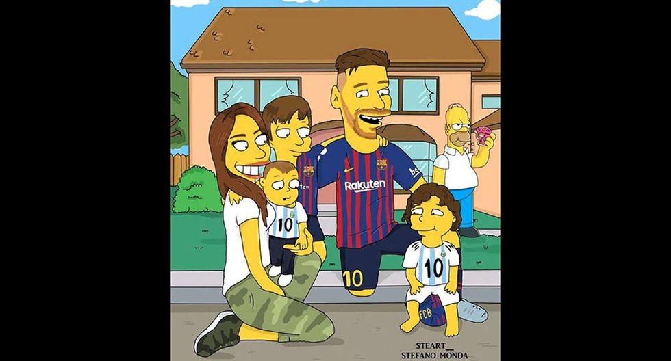 Lionel Messi al estilo de Los Simpsons, junto a su familia. (Foto: Instagram @steart__)