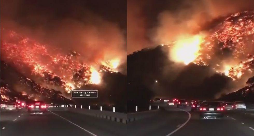 Incendio en California: Las terroríficas imágenes de una autopista rodeada por las llamas