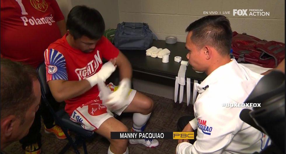 Manny Pacquiao momentos antes de su pelea contra Thurman. (Captura TV)