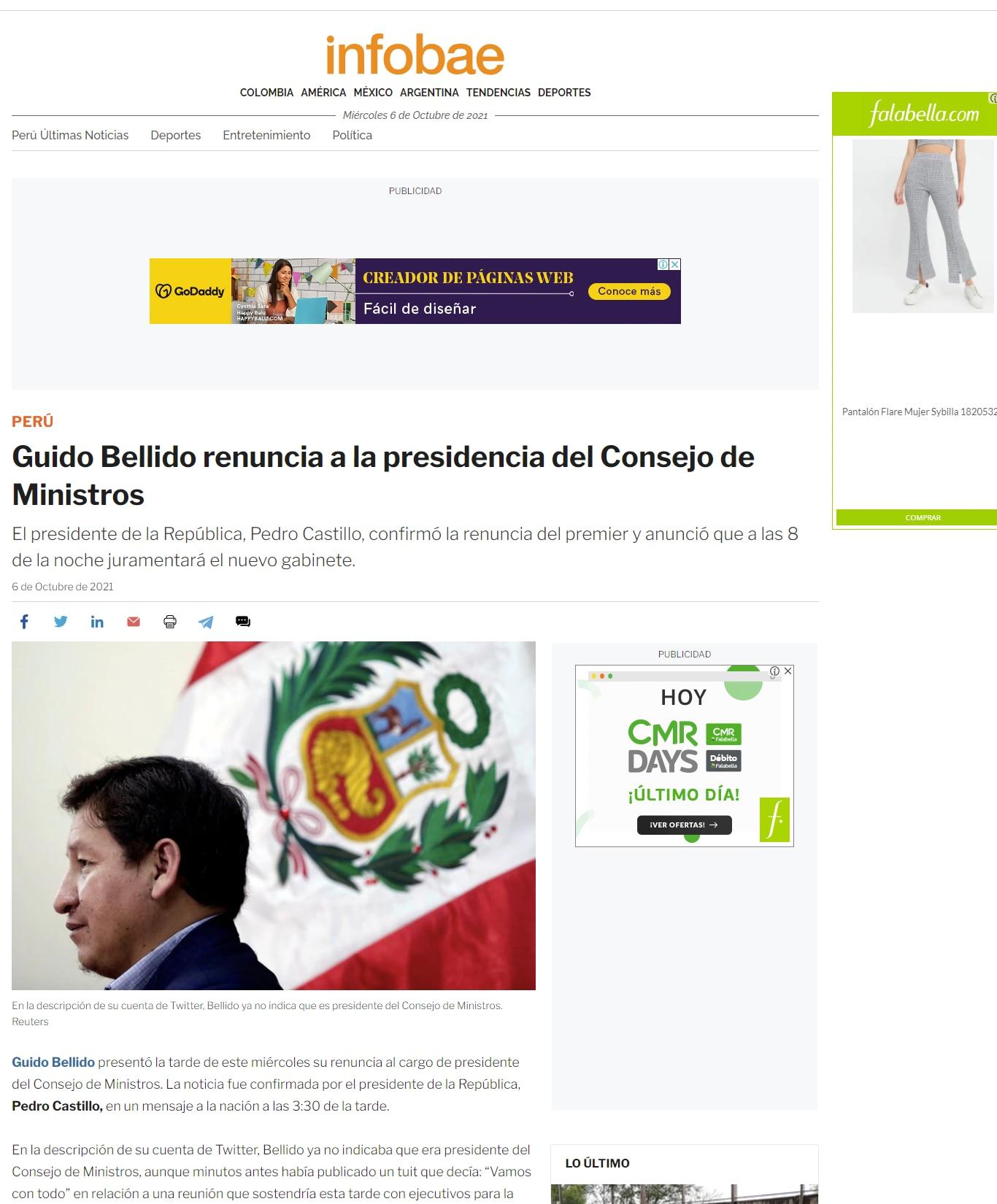 Guido Bellido en Infobae.