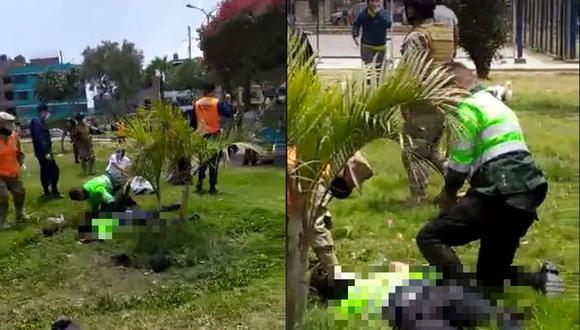 El agente Javier Silva Zelada recibió una golpiza durante intervención en un parque del Callao. (Captura de video de Facebook)