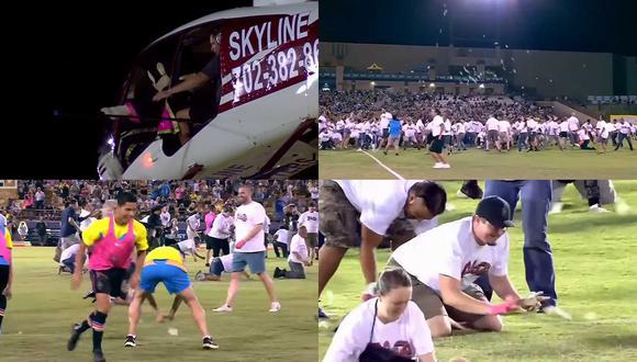 Mira cómo llovieron 10 mil dólares desde un helicóptero en el fútbol de los Estados Unidos. (Captura: USL Championship / ESPN)