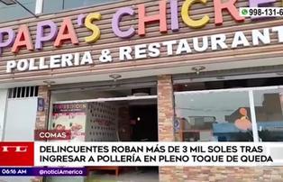 Delincuentes roban más de 3000 soles en pollería en Comas