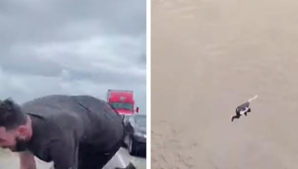 """Un hombre salta de un puente porque """"estaba aburrido del tráfico"""" y se salva de milagro (Foto: KATC)"""