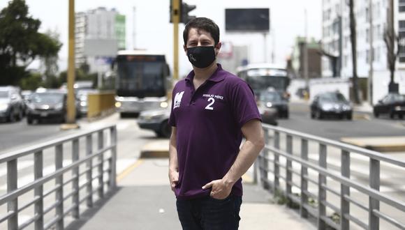 Rodolfo Pérez confía que su partido pase a la segunda vuelta electoral. (Foto: Jesus Saucedo para El Comercio)