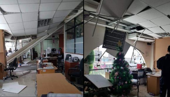 Arequipa: Falso techo de la Municipalidad de Arequipa se cayó producto del sismo (Foto: Difusión)