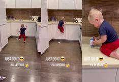 Bebé es considerado un prodigio del parkour por trepar el mobiliario de su casa con facilidad