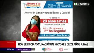 Hoy inició la vacunación para los jóvenes de 23 y 24 años en Lima y Callao
