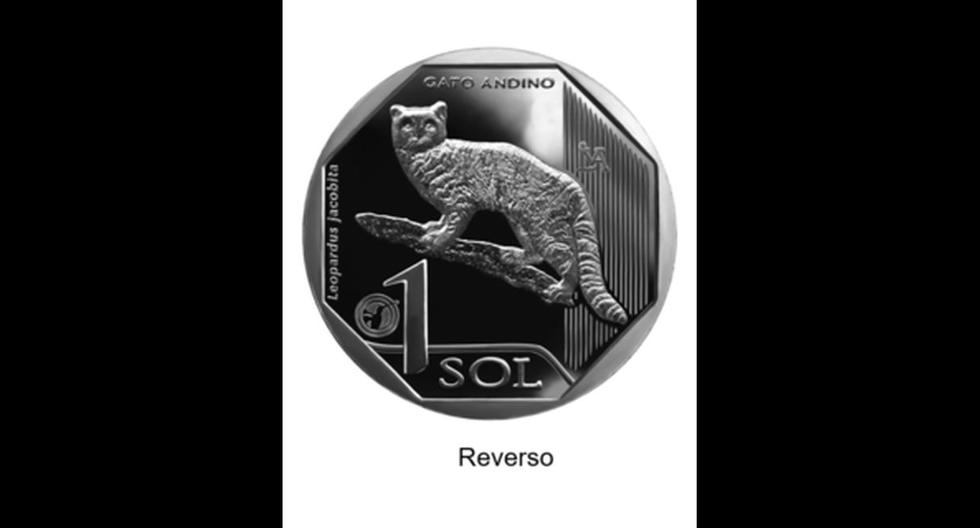 Anverso de la moneda del Gato Andino