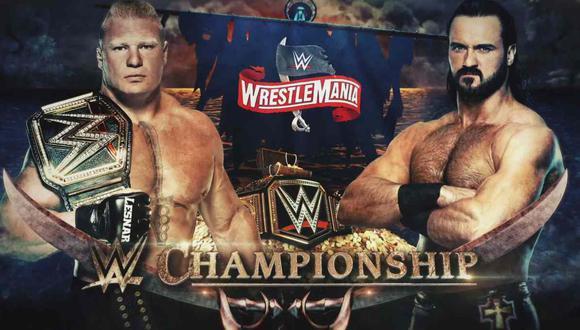 Brock Lesnar y Drew McIntyre en Wrestlemania 36. (Foto: WWE)