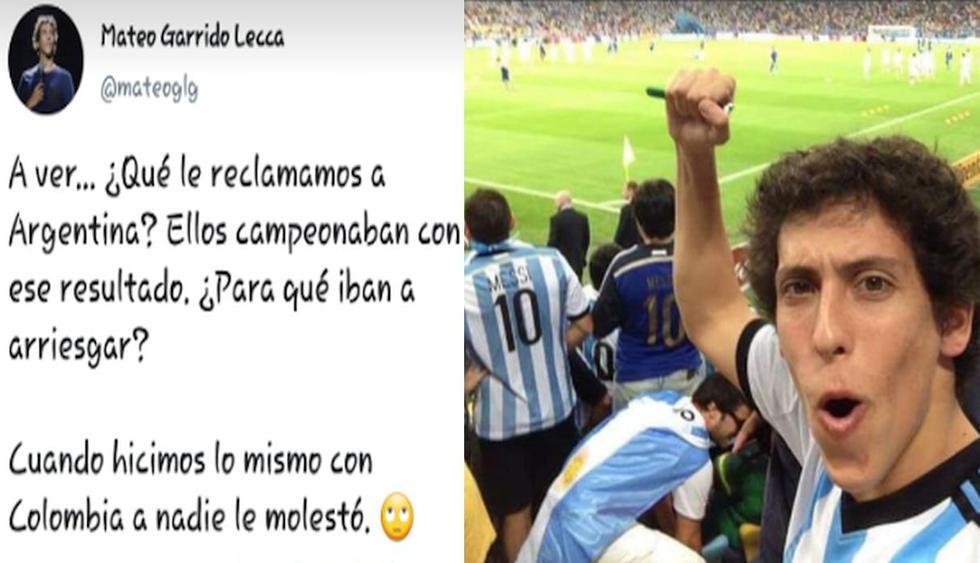 Mateo Garrido Lecca defendió derrota 'limpia' de Argentina y usuarios arremeten en su contra. (Capturas: Twitter)