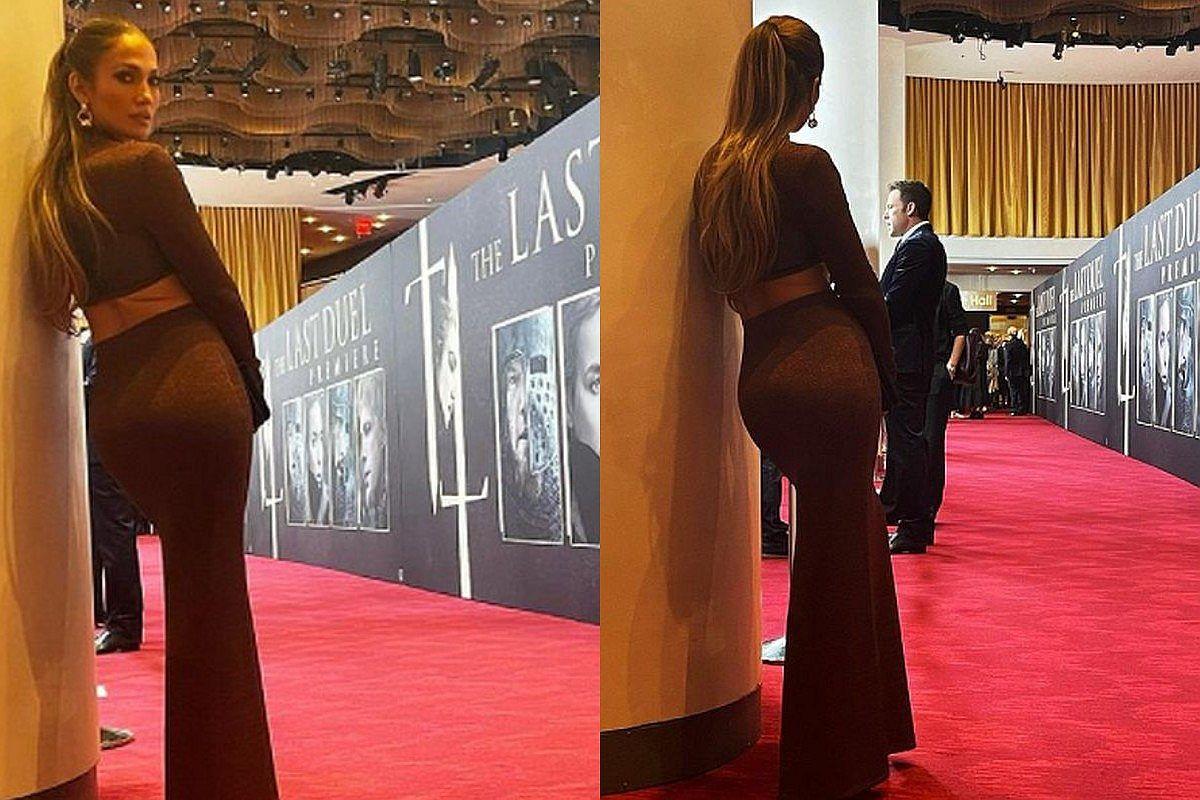 """La magia de la alfombra roja"", escribió Jennifer Lopez en una foto observando totalmente enamorada a Ben Affleck. (Foto: @jlo / Instagram)"