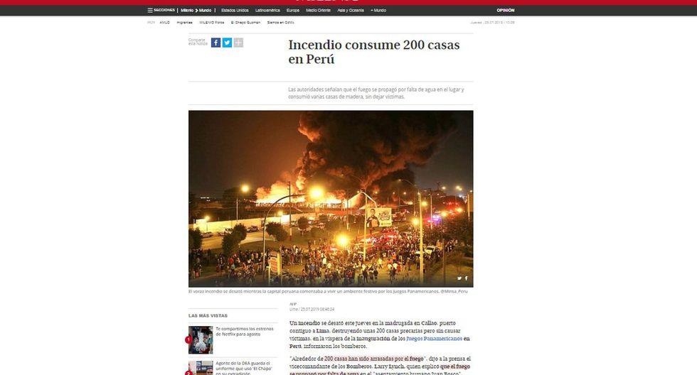 Así informó el mundo el incendio que afectó 200 casas en el Callao. (Foto: El Milenio - México)