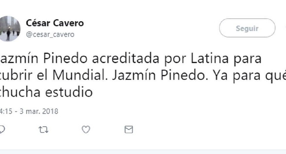 Jazmín Pinedo recibe duras críticas por su designación como  corresponsal del Mundial Rusia 2018
