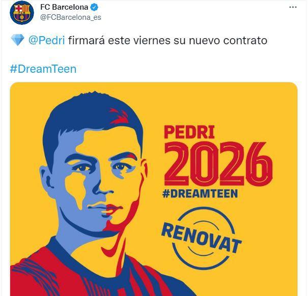 Pedri firmará el contrato con Barcelona este viernes. (Foto: Twitter de FC Barcelona)