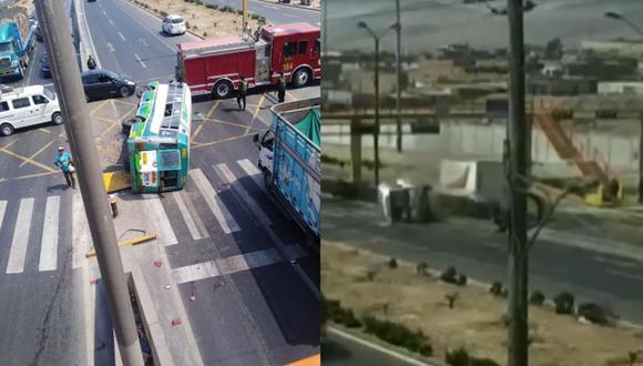 Cúster se volcó en Ancón tras ser impactado por camión. (Ancón es Ancón/ATV)