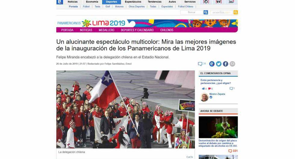 """El Mercurio, de Chile, dijo: """"Un alucinante espectáculo multicolor: Mira las mejores imágenes de la inauguración de los Panamericanos de Lima 2019""""."""