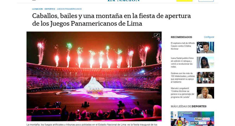 """La Nación, de Argentina, informó sobre la inauguración de los Juegos Panamericanos Lima 2019 con este titular: """"Caballos, bailes y una montaña en la fiesta de apertura de los Juegos Panamericanos de Lima""""."""
