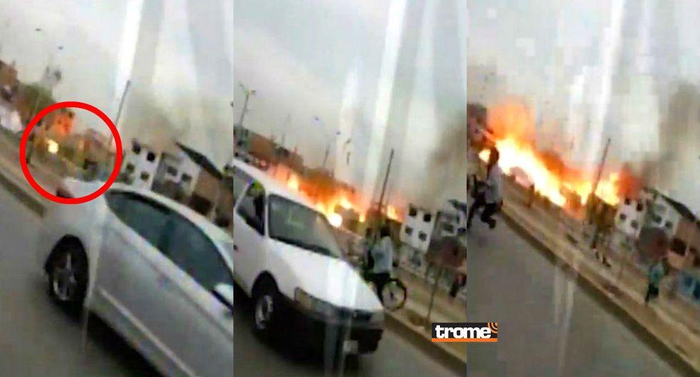 El preciso instante en el que gas se prende y se desata el fuego por varias viviendas de la zona (TROME)