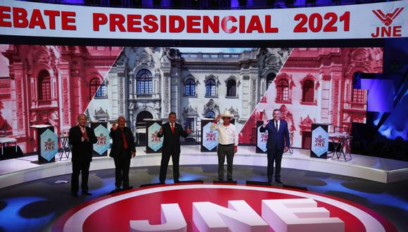 Hernando de Soto, Andrés Alcántara, Ollanta Humala, Pedro Castillo y Daniel Urresti. (Foto:  Hugo perez  / @photo.gec )