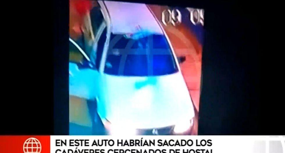 Así fueron sacados los cadáveres descuartizados de hostal, en San Martín de Porres. (Capturas: América Noticias)